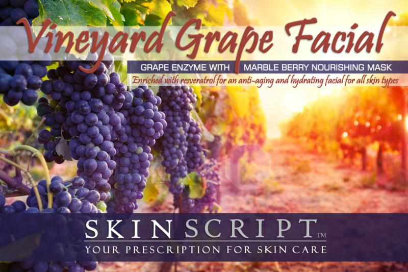 Vineyard with grapes for facials